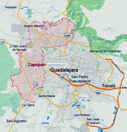 Kaart van Zapopan Jalisco Mexico